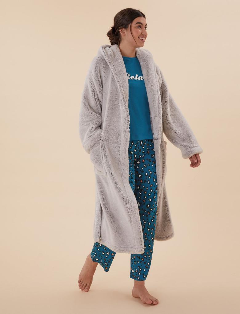 Kadın Mavi Saf Pamuklu Grafik Desenli Pijama Takımı