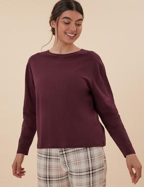 Kadın Mor Kareli Pamuklu Pijama Takımı