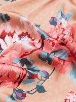 Kadın Pembe Çiçek Desenli Saten İnce Sabahlık