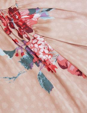 Kadın Pembe Çiçek Desenli Saten Pijama Takımı