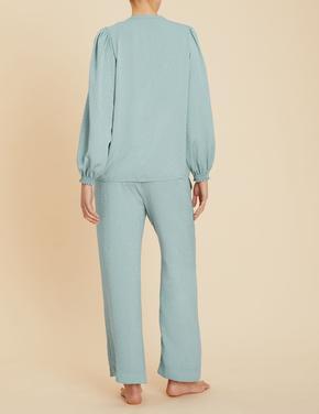 Kadın Yeşil Saten Pijama Takımı