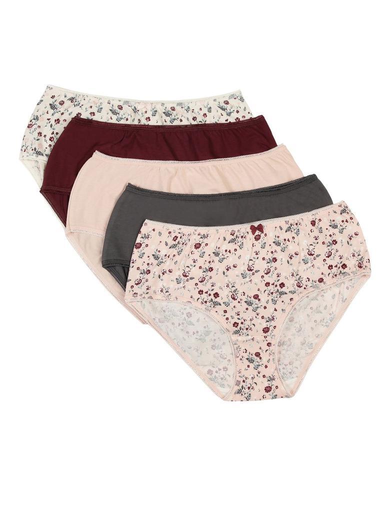 Kadın Bordo 5'li Desenli Cotton Lycra® Midi Külot Seti