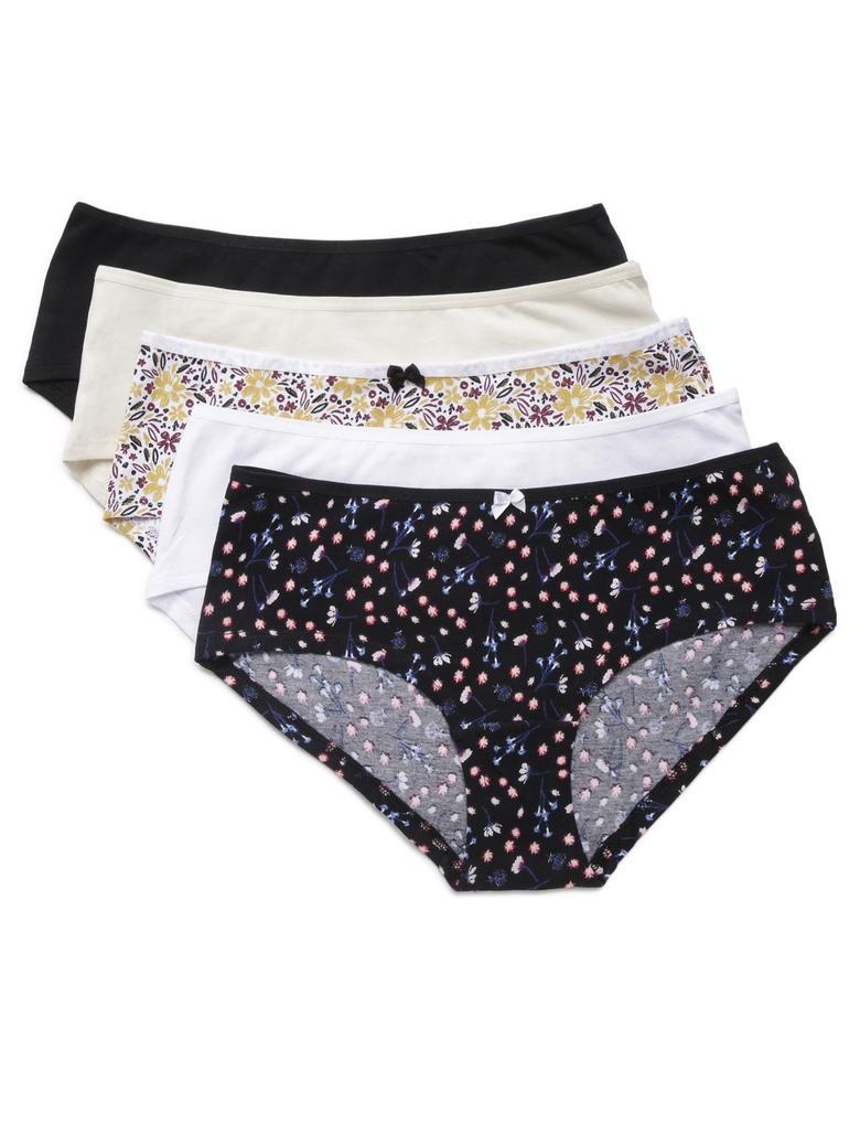 Kadın Siyah 5'li Desenli Cotton Lycra® Short Külot Seti