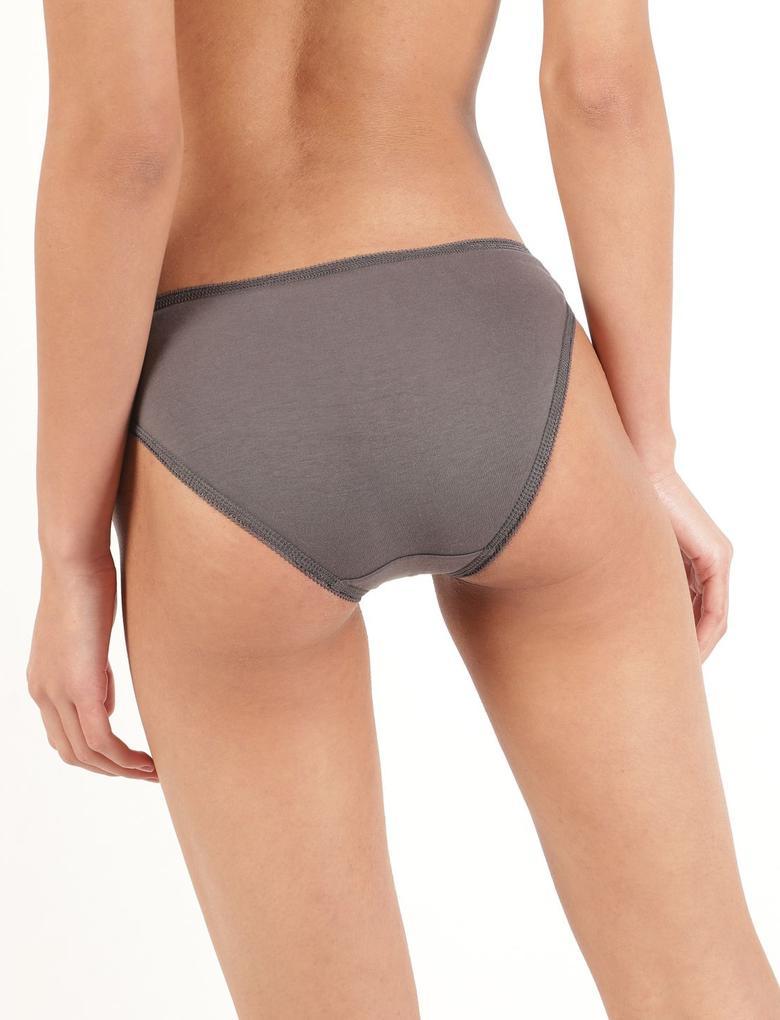 Kadın Bordo 5'li Desenli Cotton Lycra® Bikini Külot Seti