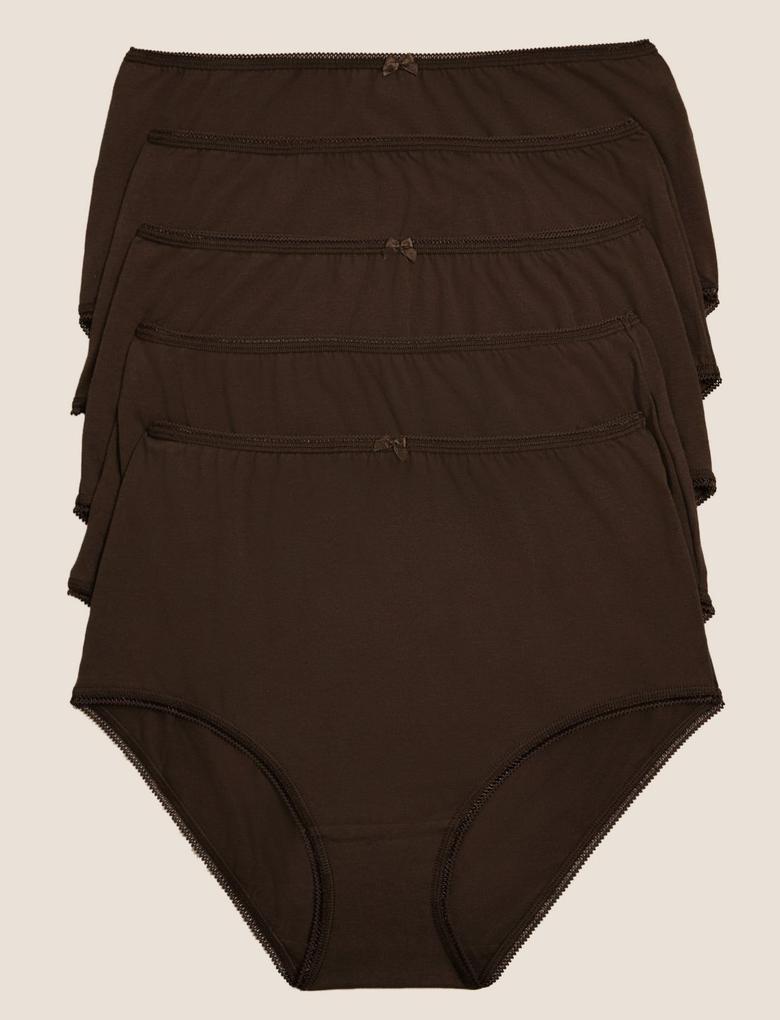 Kadın Kahverengi 5'li Cotton Lycra® Full Brief Külot Seti