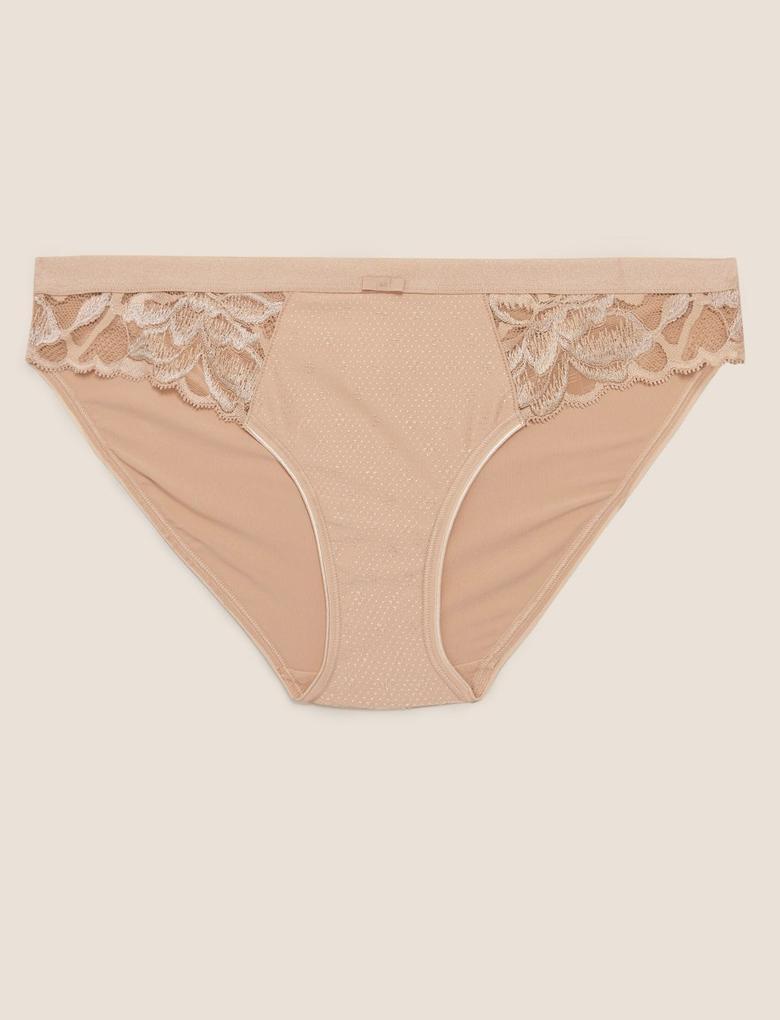 Kadın Bej Dantel Detaylı Bikini Külot