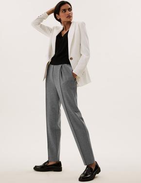 Kadın Gri Örme Tapered Ankle Grazer Pantolon