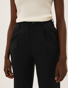 Kadın Siyah Pileli Tapered Ankle Grazer Pantolon