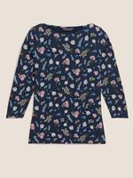 Kadın Siyah 3/4 Kollu Çiçek Desenli Bluz