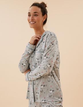 Kadın Gri Snoopy™ Uzun Kollu Pijama Takımı