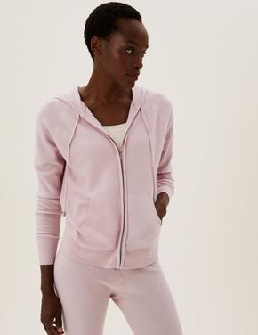 Kadın Pembe Yumuşak Dokulu Fermuarlı Sweatshirt