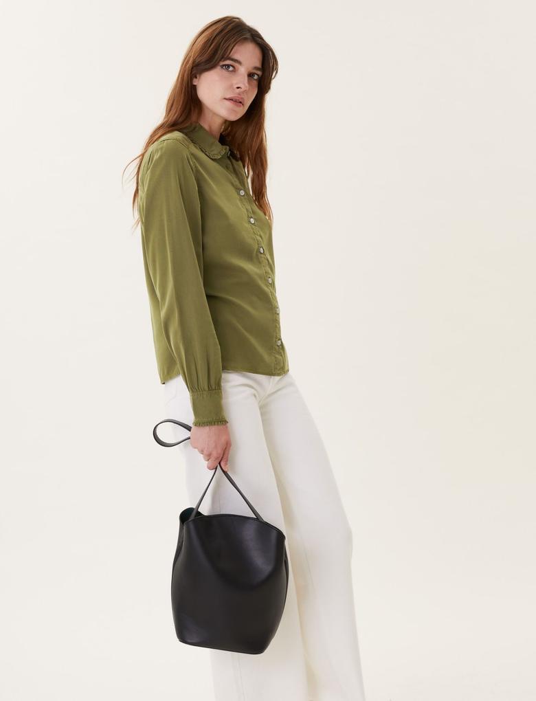 Kadın Yeşil Tencel™ Bebe Yaka Denim Gömlek