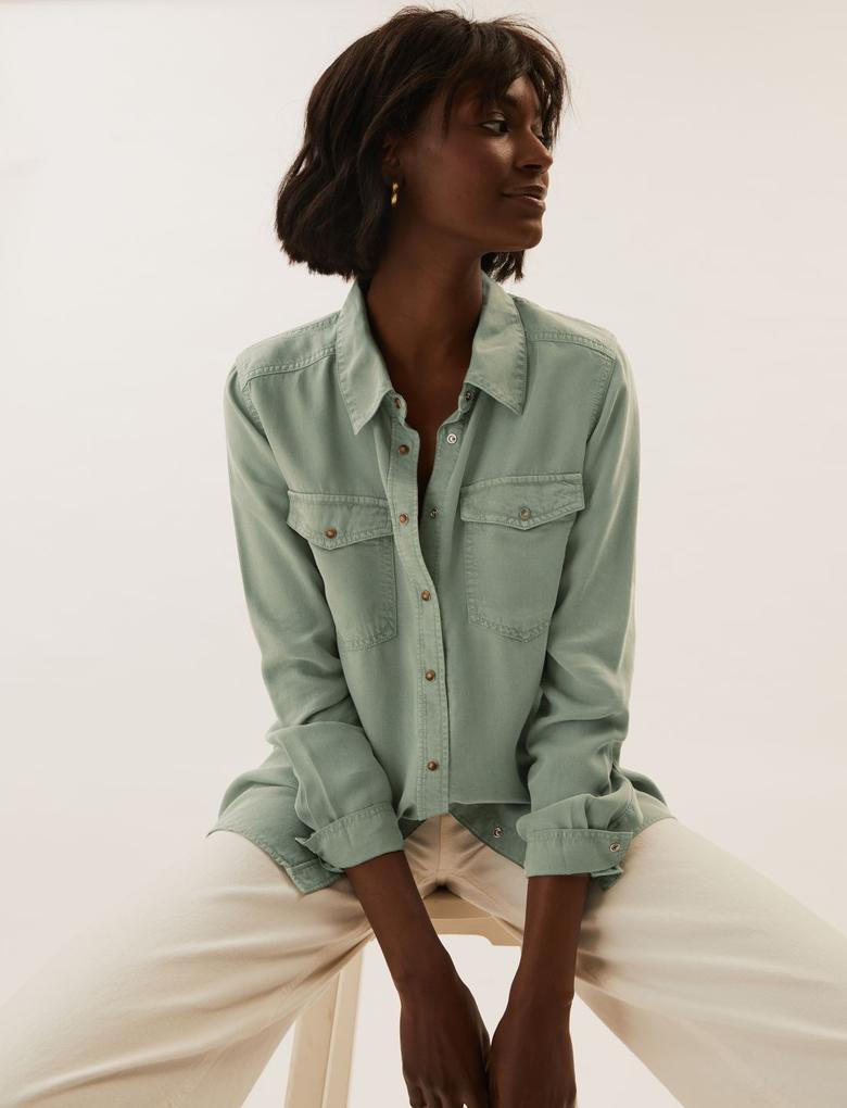 Kadın Yeşil Saf Tencel™ Denim Gömlek