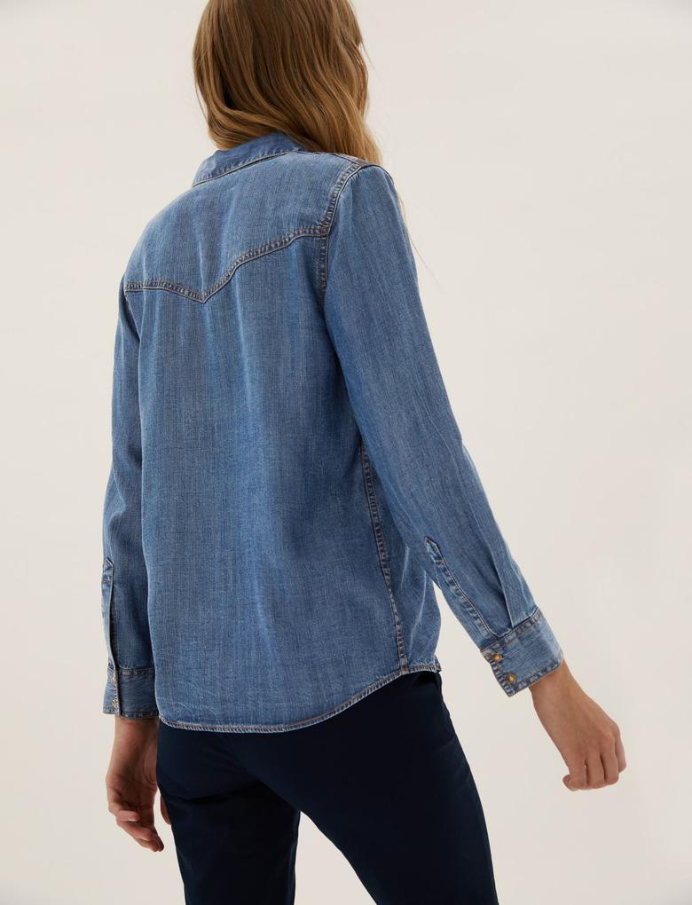 Kadın Mavi Saf Tencel™ Denim Gömlek