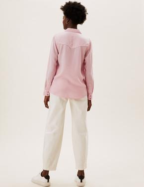 Kadın Pembe Saf Tencel™ Denim Gömlek