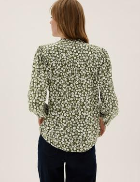 Kadın Yeşil Çiçek Desenli Uzun Kollu Bluz