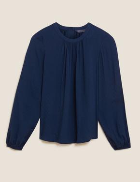 Kadın Lacivert Düğme Detaylı Dokulu Bluz