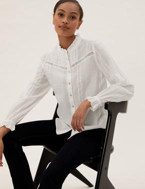 Kadın Krem Saf Pamuklu Dantel Detaylı Bluz
