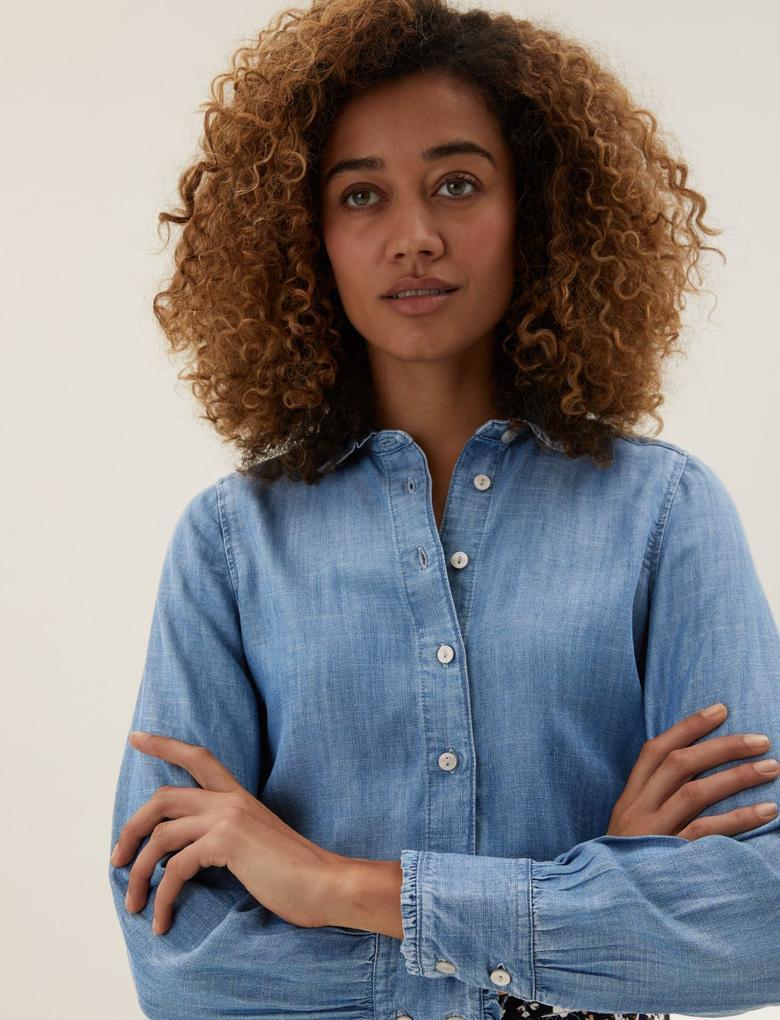 Kadın Mavi Tencel™ Bebe Yaka Denim Gömlek