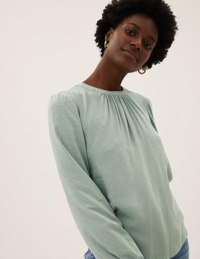 Kadın Yeşil Düğme Detaylı Dokulu Bluz