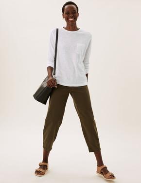 Kadın Beyaz Saf Pamuklu Uzun Kollu T-Shirt