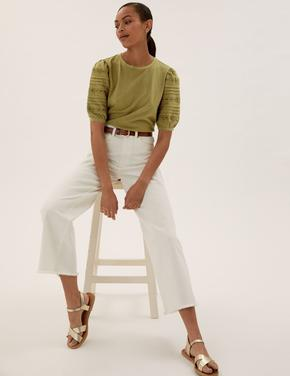 Kadın Yeşil Saf Pamuklu Dantel Detaylı T-Shirt