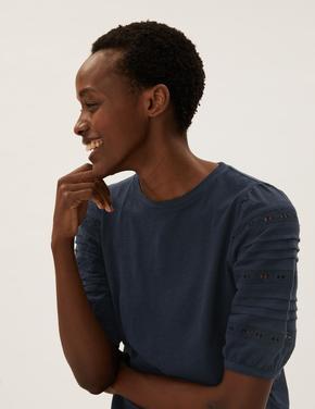 Kadın Lacivert Saf Pamuklu Dantel Detaylı T-Shirt