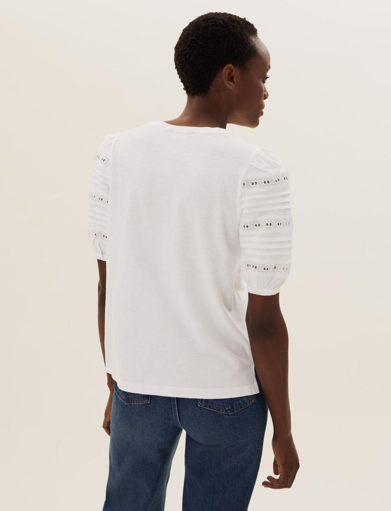 Kadın Beyaz Saf Pamuklu Dantel Detaylı T-Shirt