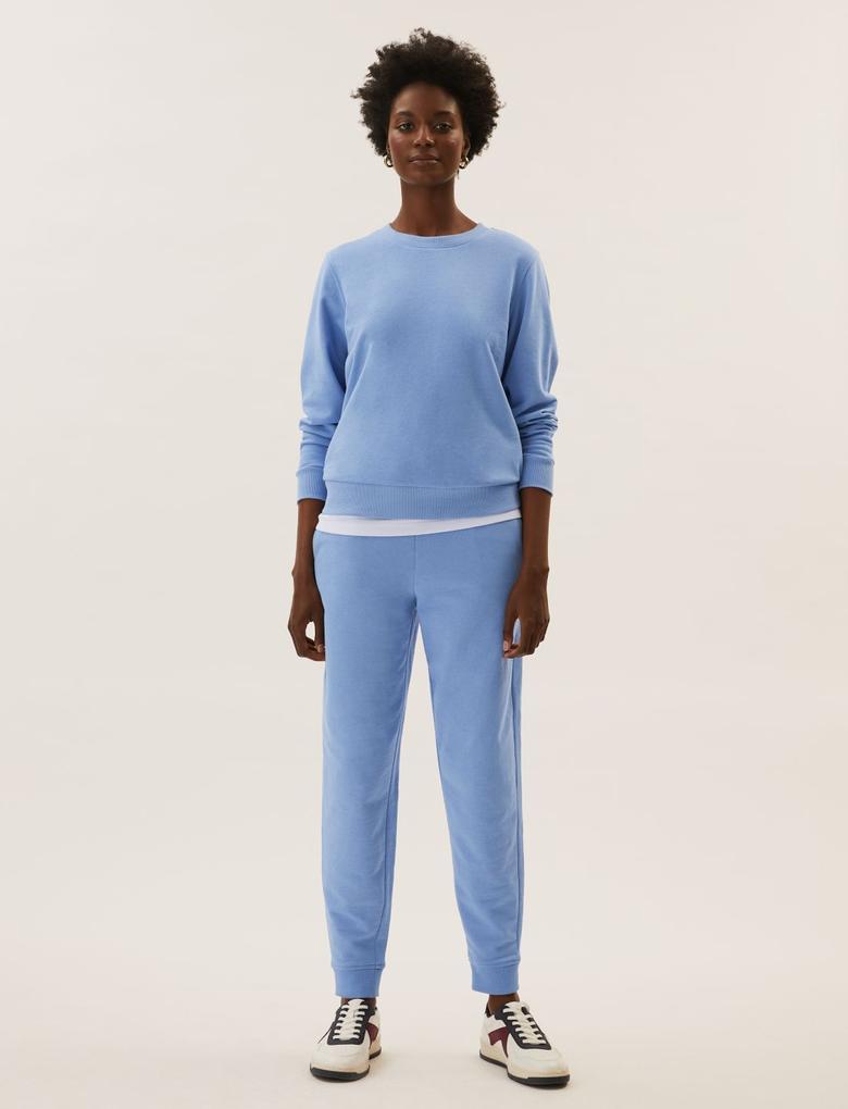 Kadın Mavi Yuvarlak Yaka Sweatshirt
