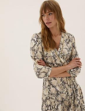 Kadın Bej Desenli V Yaka Midi Elbise