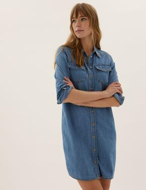 Kadın Mavi Saf Pamuklu Denim Gömlek Elbise