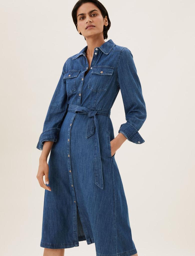 Kadın Mavi Saf Pamuklu Midi Denim Gömlek Elbise