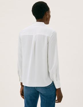 Kadın Krem Uzun Kollu Saten Gömlek