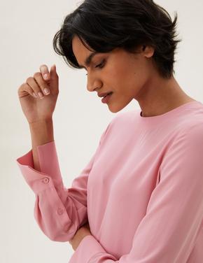 Kadın Pembe Yuvarlak Yaka Uzun Kollu Bluz