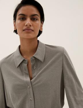 Kadın Bej Regular Fit Örme Gömlek