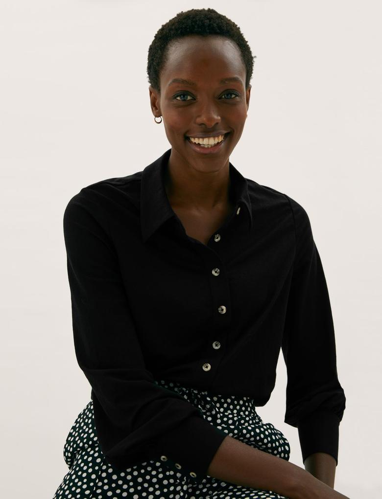 Kadın Siyah Regular Fit Örme Gömlek