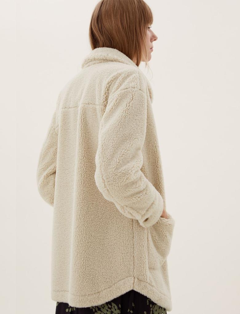 Kadın Bej Polar Gömlek Ceket