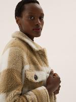 Kadın Kahverengi Ekose Desenli Polar Gömlek Ceket