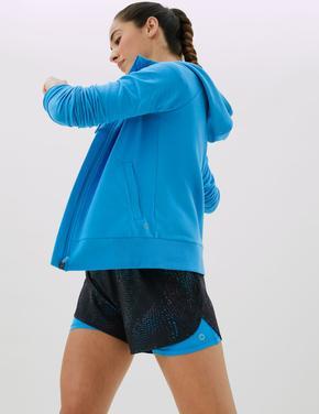 Kadın Mavi Uzun Kollu Fermuarlı Sweatshirt