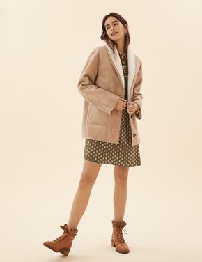 Kadın Bej Düğmeli Süet Ceket