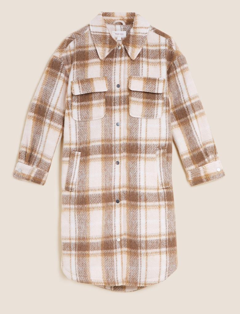 Kadın Bej Ekose Desenli Relaxed Gömlek Ceket