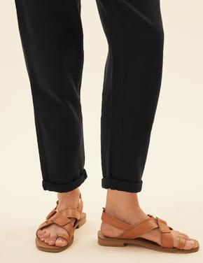Kadın Siyah Saf Pamuklu Kuşaklı Tapered Pantolon