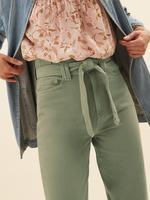 Kadın Yeşil Saf Pamuklu Kuşaklı Tapered Pantolon