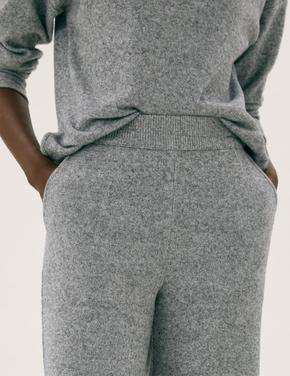 Kadın Gri Wide Leg Ankle Grazer Pantolon