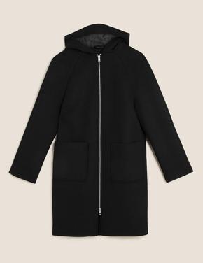 Kadın Siyah Kapüşonlu Yünlü Ceket