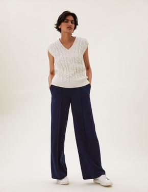 Kadın Lacivert Çizgili Wide Leg Pantolon