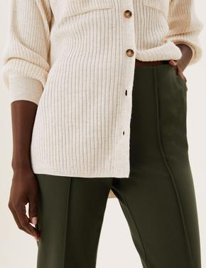 Kadın Kahverengi Straight Leg Örme Pantolon