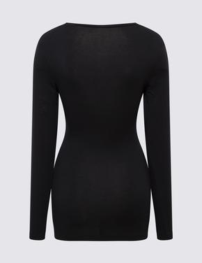 Kadın Siyah Heatgen™ Termal Uzun Kollu Atlet