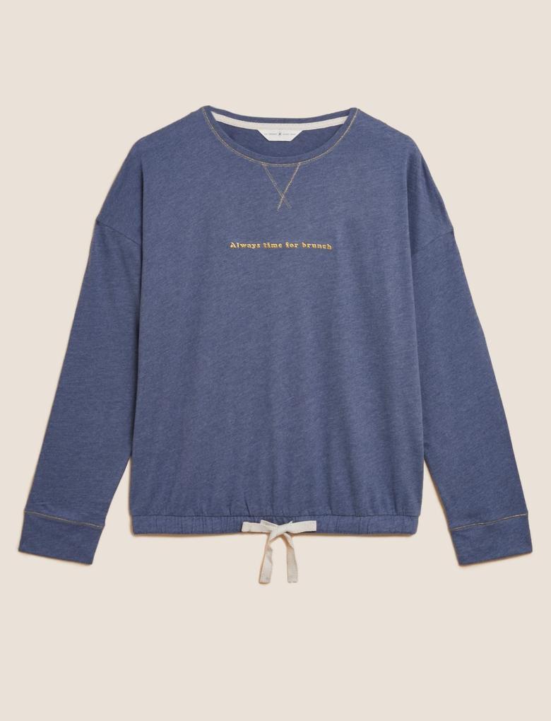 Kadın Mavi Brunch Temalı Pijama Üstü