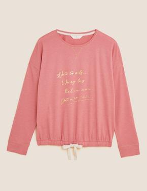 Kadın Pembe Slogan Detaylı Pijama Üstü